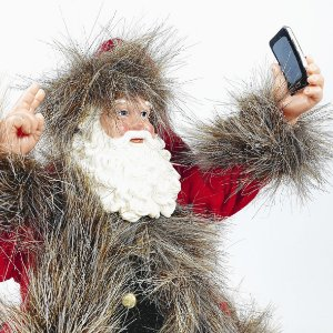 Papai Noel Decorativo - Self - Vermelho/Cinza - 27,5cm