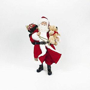 Papai Noel Decorativo - Saco de Presente c/ Urso - 27,5cm