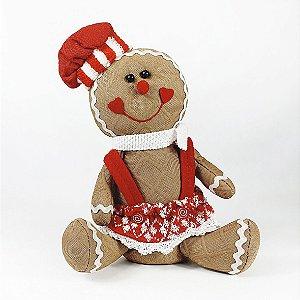 Boneco Biscoito Menina - 30cm - Vermelho/Branco
