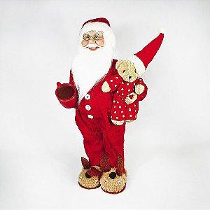 Papai Noel Decorativo - Pijama c/ Urso de Pelúcia- 46cm