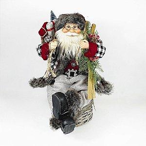 Papai Noel Decorativo - Lenhador/Sentado - Vermelho/Cinza - 45cm