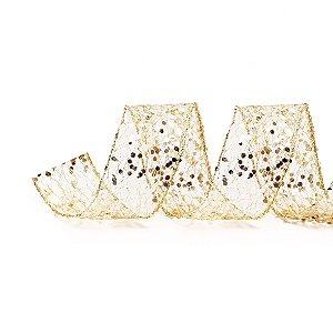 Rolo de Fita Aramada - Telada- Dourado c/ Glitter - 3,8cmx9m