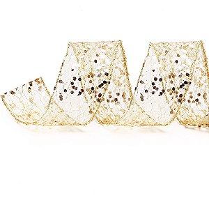 Rolo de Fita Aramada - Telada- Dourado c/ Glitter -6,3cmx9m