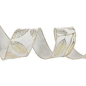 Rolo de Fita Aramada - Off White c/ estampa de Folhas em Dourado - 6,3cmx9m