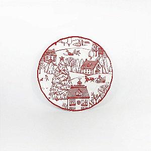 Prato de Cerâmica - Cidade Natalina/Vermelho