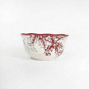 Tigela de Cerâmica Natalina - Vermelha/Cinza