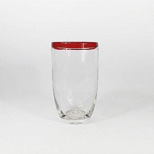 Copo de Vidro Unitário - Borda Vermelho