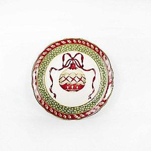 Prato de Cerâmica Natalino - Vermelho/Verde