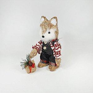 Raposa Decorativa Natalina - Palha