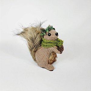 Esquilo Decorativo Cachecol - Pinha -17cm