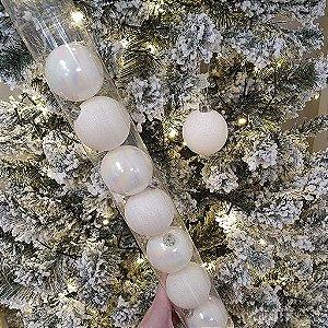 Jogo de Bolas Decorativas Brancas - Furta Cor/Glitter - 6cm