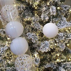 Jogo de Bolas Decorativas - Branco/Arabescos - 8cm