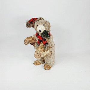 Urso em Pé - Xadrez Vermelho/Preto - 33cm