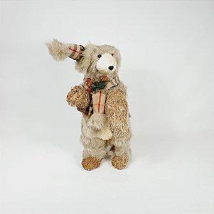 Urso em Pé - Xadrez Bege/Vermelho - 33cm