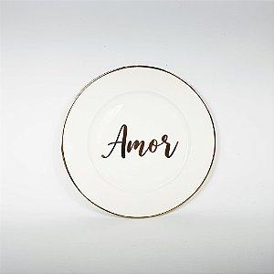 Prato Porcelana - Amor - Branco/Dourado -19cm