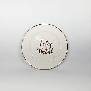 Prato Porcelana - Feliz Natal - Branco/Dourado -19cm