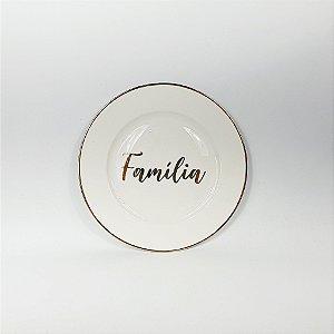 Prato Porcelana - Família - Branco/Dourado -19cm
