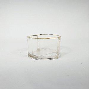 Vaso Decorativo - Coração - Transparente/Dourado - 10cm