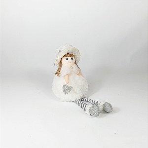 Boneca c/ Chapéu - Branco - 22cm