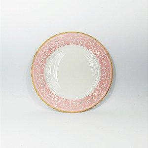 Prato Porcelana - Lanche - Branco/Rosa - 19cm