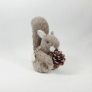 Esquilo Decorativo Cachecol Xadrez Cinza/Rosa c/ Pinha