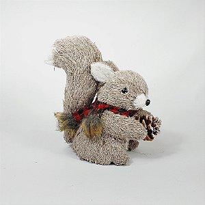 Esquilo Decorativo Cachecol Xadrez Vermelho c/ Pinha
