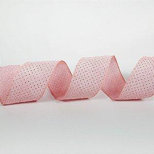 Rolo de Fita Aramada - Rosa c/ Poá Dourado - 6,3cm x 9m