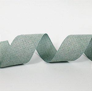 Rolo de Fita Aramada - Verde c/ Poá Dourado - 6,3cm x 9m