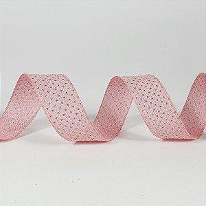 Rolo de Fita Aramada - Rosa c/ Poá Dourado - 3,8cm x 9m