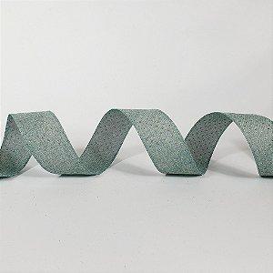 Rolo de Fita Aramada - Verde c/ Poá Dourado - 3,8cm x 9m