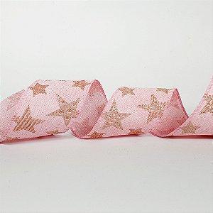 Rolo de Fita Aramada - Rosa c/ Estrelas Douradas - 6,3cm x 9m