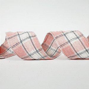 Rolo de Fita de Tecido - Xadrez Rosa e Azul - 3,8cm x 9m
