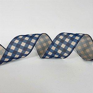 Rolo de Fita Aramada - Xadrez Azul/Branco - 6,3cm x 9m