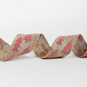 Rolo de Fita Aramada - Bege c/ Pinheiros Rosa - 6,3cm x 9m