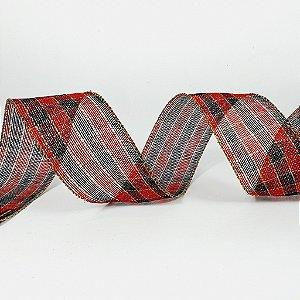 Rolo de Fita Aramada - Xadrez Vermelho/Preto - 6,3cm x 9m