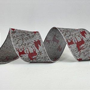 Rolo de Fita Aramada - Cinza/Vermelho - 6,3cm x 9m