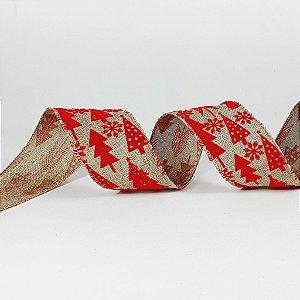 Rolo de Fita Aramada - Bege c/ Pinheiros Vermelho - 6,3cm x 9m