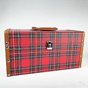 Mala Decorativa Xadrez Escocês - 35cm