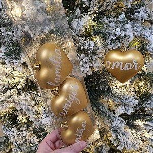 Kit de Enfeites Natalinos Coração Dourado - Cx. com 4