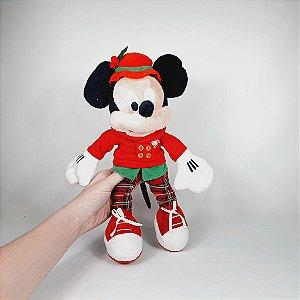 Mickey de Pelúcia- Roupa Xadrez - 35cm