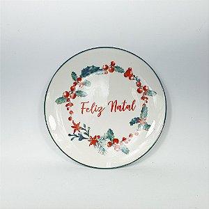 Prato de Cerâmica - Feliz Natal - 19cm