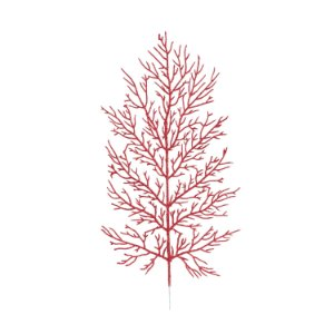 Galho Folhas - Vermelho/Glitter