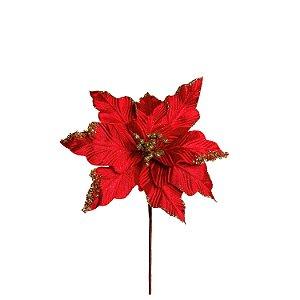 Poinsetia Decorativa - Vermelha/Ouro