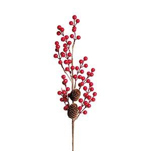 Galho de Frutas e Pinhas - Vermelho