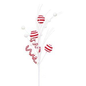 Galho Candy - Bolas Vermelho e Branco