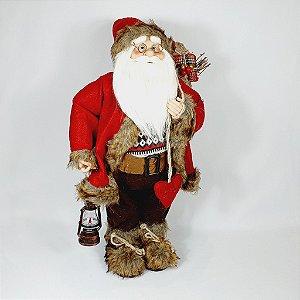 Papai Noel Lenhador em Pé  - 30cm - Vermelho/Marrom