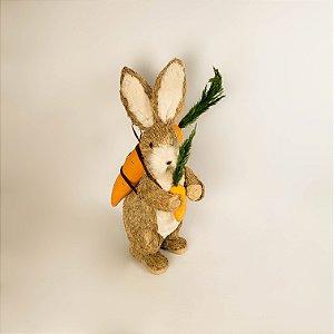 Coelho rústico carregando cenoura 46cm