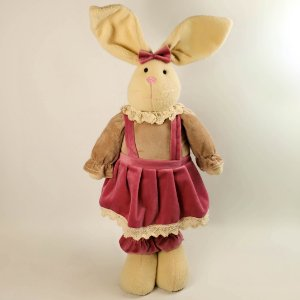 Coelha de pano nude e rosa 67cm