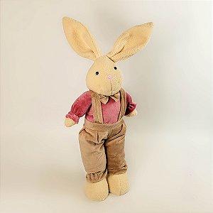 Coelho de pano nude e rosa 50cm