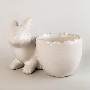 Porta arranjo coelho branco 10cm